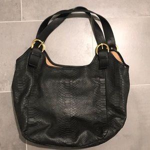 Black reptile print leather large shoulder bag